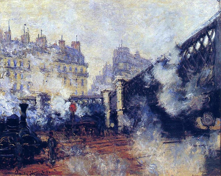 A painting done by Monet in Paris, featuring a local train station.