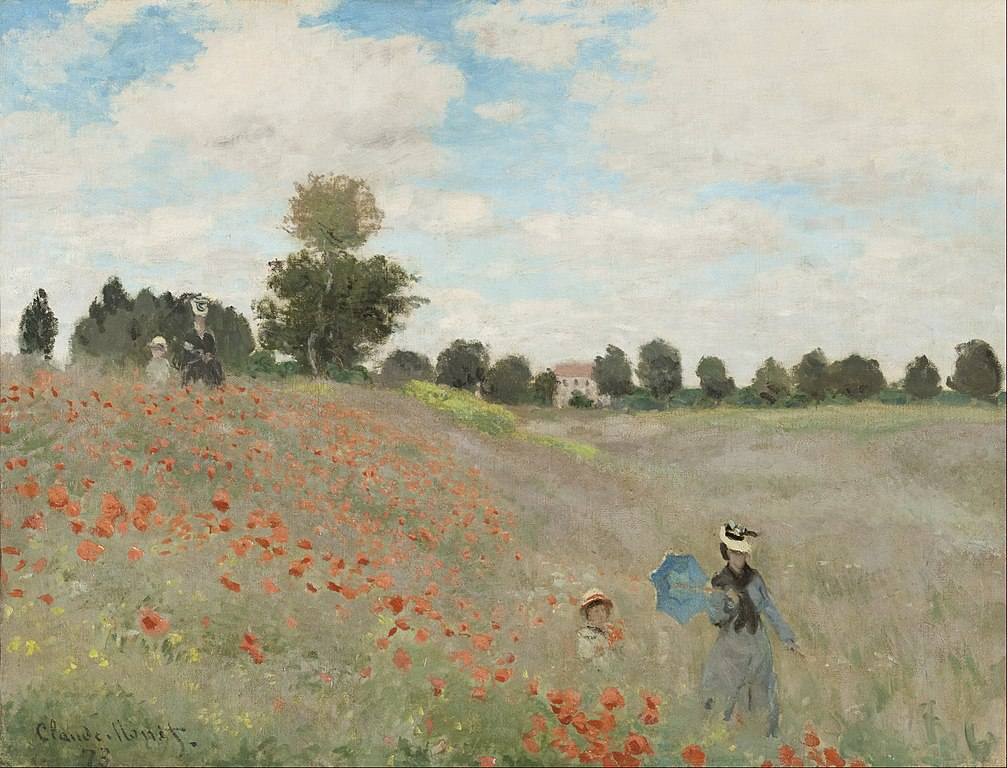 A poppy field painted by Monet in Paris, likely featuring his wife and child.