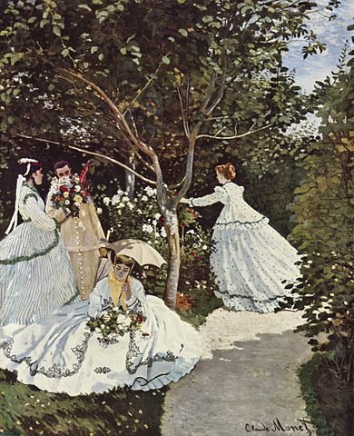 A painting by Claude Monet featuring three women and a man, dressed in high-society clothing.