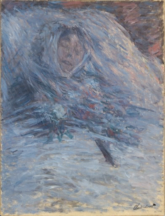 A painting of Camille Monet, Claude Monet's wife, after having recently died.
