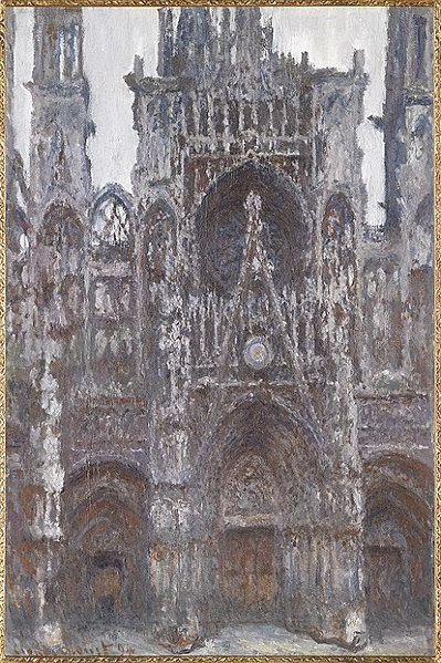 One of Monet's Rouen Cathedral paintings, featuring the front of the Gothic-style building.
