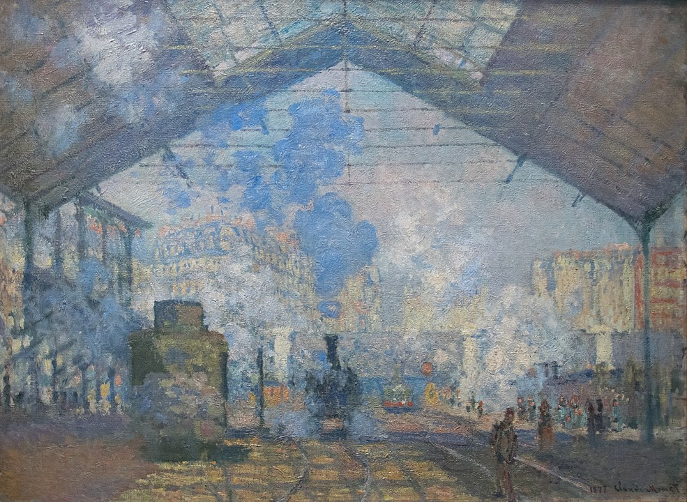 One of the most iconic Monet locations in Paris, Gare Saint-Lazare, as depicted by the artist himself. Trains let off steam as people watch and walk by.
