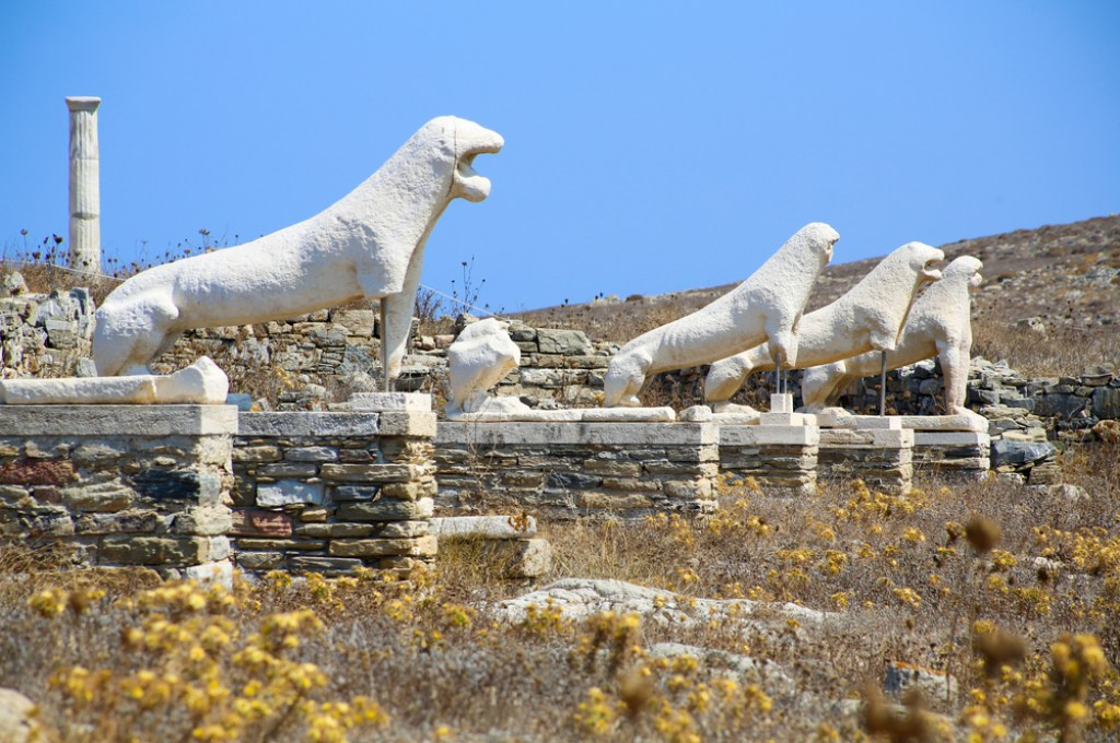 Ancient statues on Delos, one of the most important Greek mythology places.