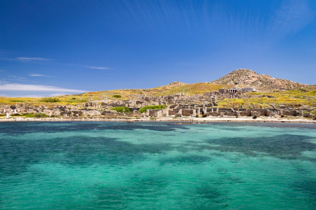 The untouched island of Delos, a time capsule of Greek mythology and history.