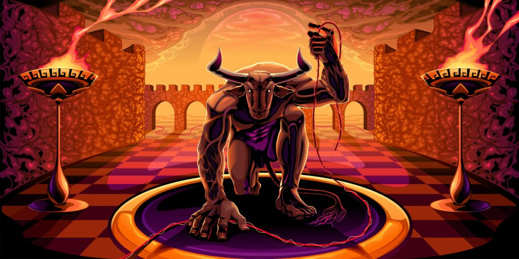 The mighty Minotaur, a terrifying icon of Greek mythology.