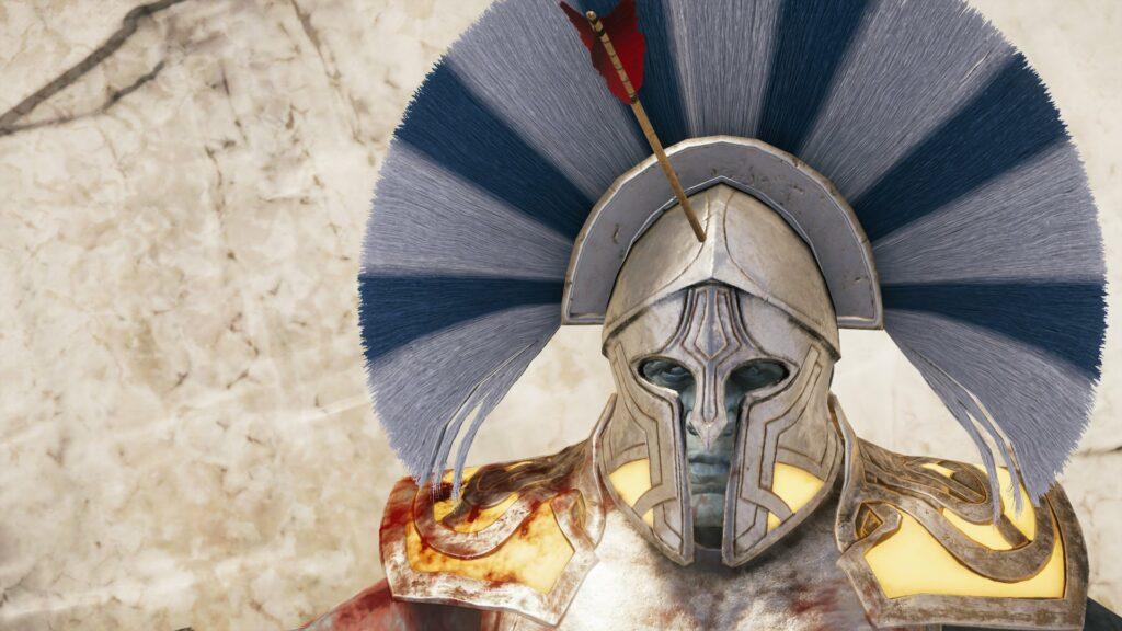 An Atlantean soldier takes an arrow to the forehead.