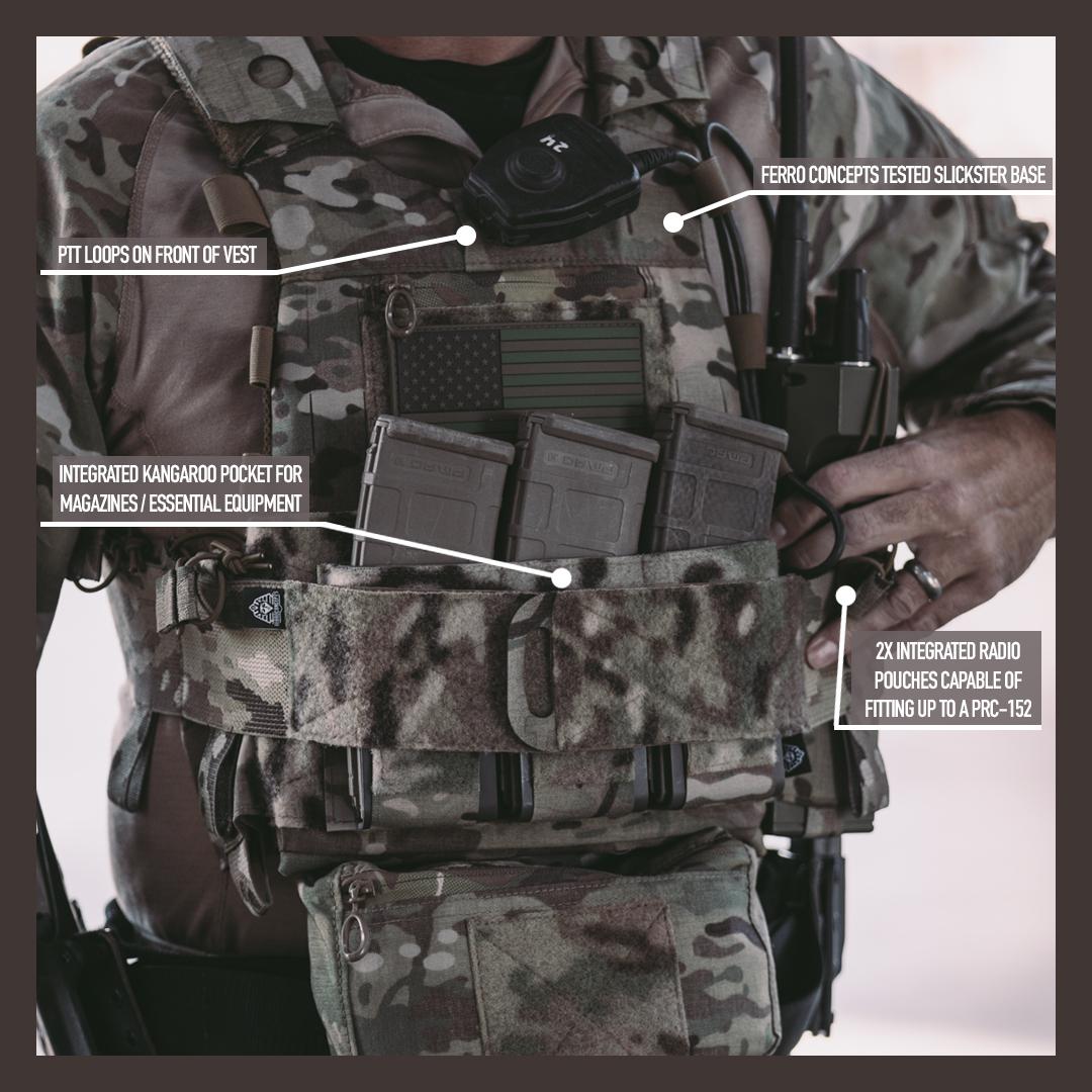 RE Factor Tactical x Ferro Concepts – Porta  placa Slickster avanzado