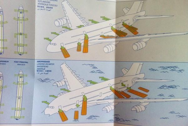 O A380 possui 16 portas, conforme mostra este folder informativo disponível a bordo. Foto: AMF / Blog Tirando Férias