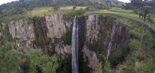 vista da parte alta da cascata do avencal, em urubici, santa catarina