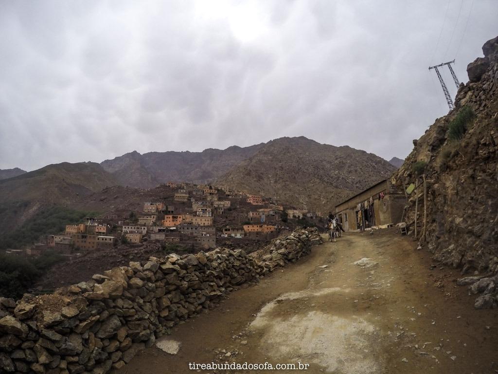 Vila de Imlil, nas cordilheiras dos atlas, no marrocos