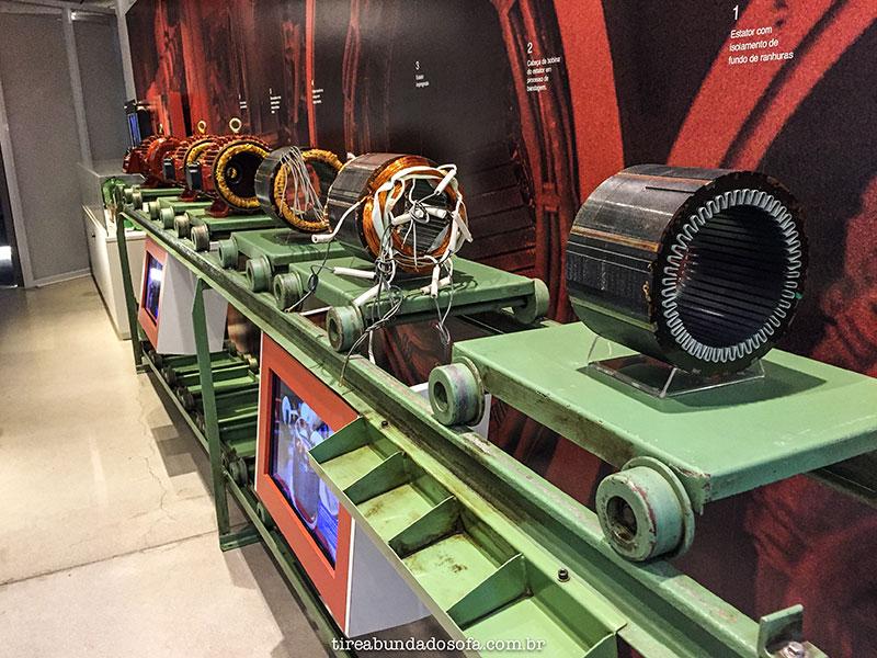 motores elétricos expostos no museu weg, em jaraguá do sul