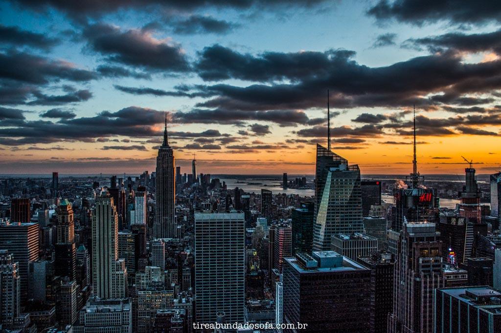 Pôr do sol no Top of The Rock, em Nova York