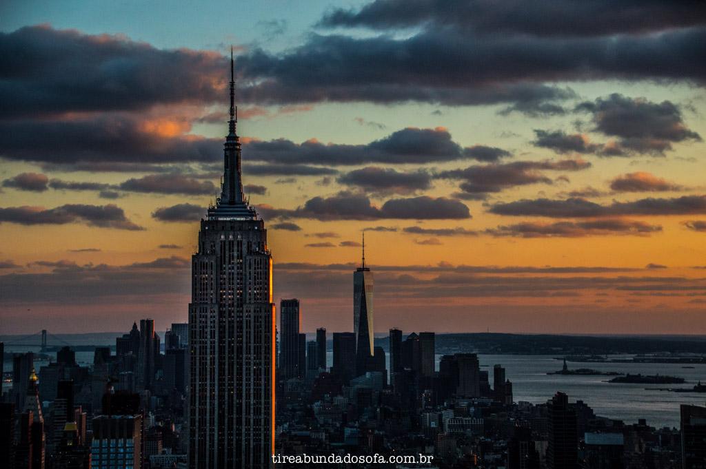 Empire State Building visto do Top of The Rock, em nova york
