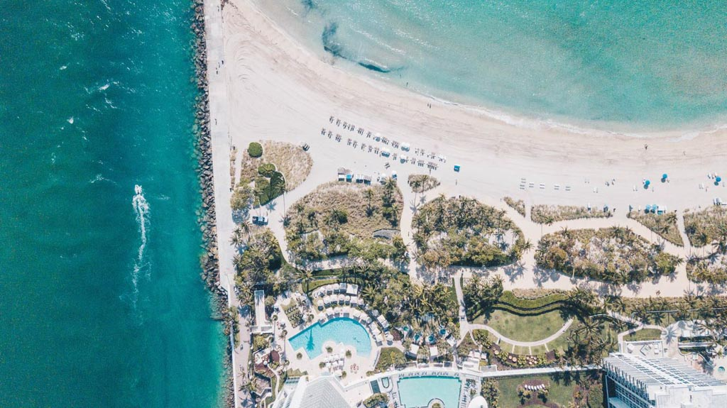 The Ritz Carlton, visto de cima, resort de luxo em miami, key biscayne
