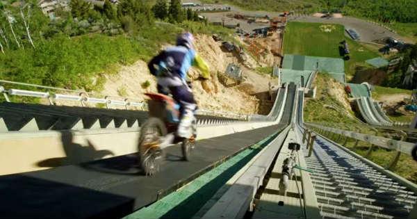 Robbie Maddison Drop InTheSki Jumping Ramp With His Dirt Bike 1