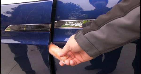 Tesla Model X Falcon Wing Doors Crushing Things 1