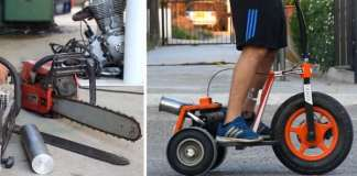 Three Wheel Scooter Powered by Chainsaw Engine 2