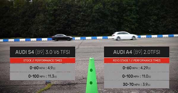 Tuned Audi A4 VS Stock Audi S4 Drag Race 2