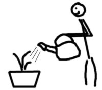 watering plant - comic