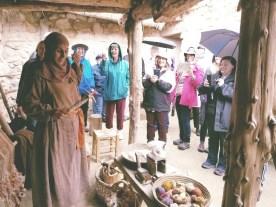 Hannah demonstrates first century weaving