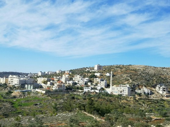 A Palestinian village north of Jerusalem. Note the minaret right of center.