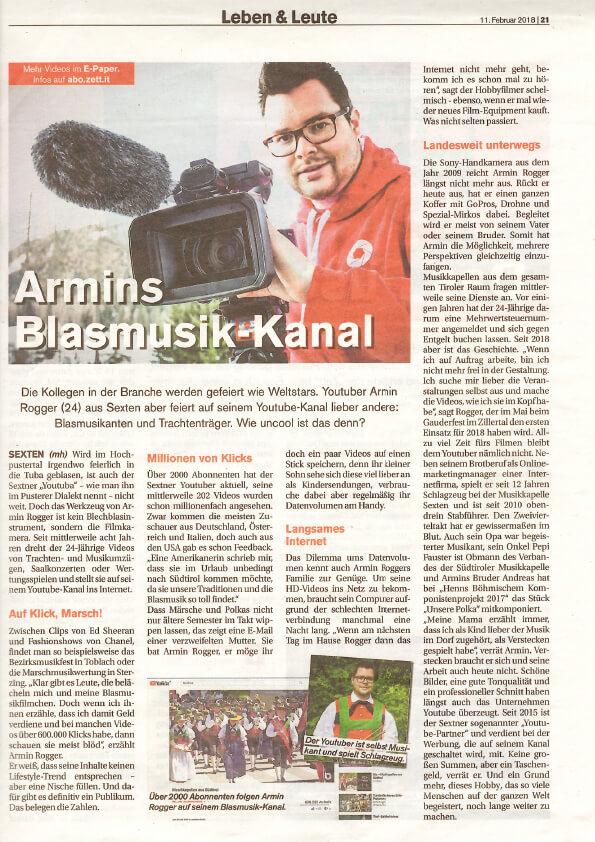 Zeitungsartikel Zett Armin Rogger