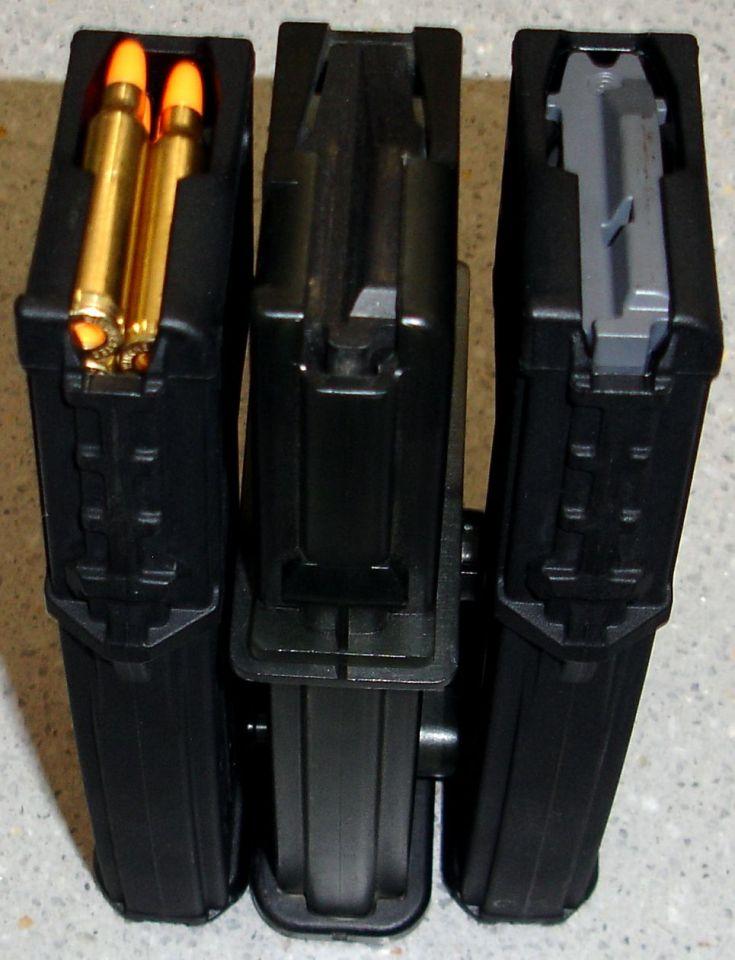 En los extremos cargadores PMAG 30G y en el centro cargador original de HK G36