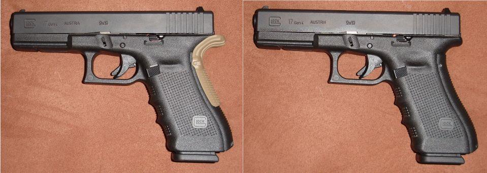 Comparativa con y sin Grip Force Adapter en color arena sobre la empuñadura de una pistola Glock G17 Gen4 con lomo intercambiable mediano.