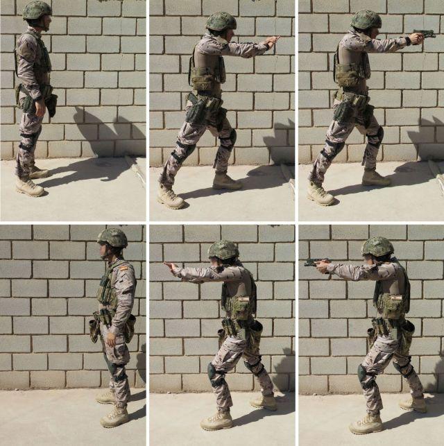 Posición/postura del tirador: base ancha, base profunda, centro de gravedad desplazado hacia delante.