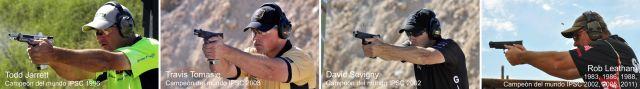 Los mejores tiradores del mundo utilizan la posición/postura isósceles moderna o modificada con los pulgares paralelos