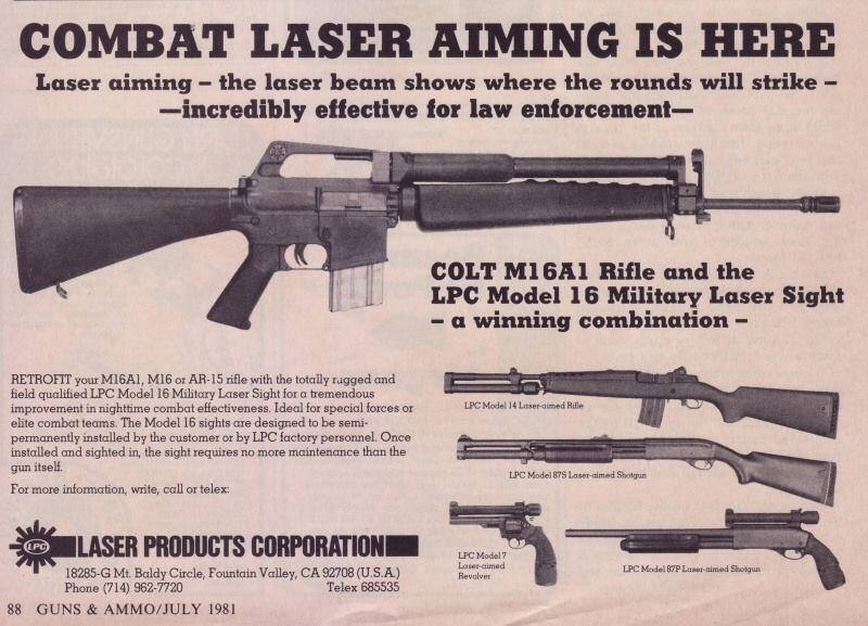Anuncio publicitario de los modelos de elementos de puntería láser para armas de fuego de la marca Laser Products Corporation disponibles a la venta en 1981. Imagen tomada de SoldierSystems (http://soldiersystems.net/blog1/wp-content/uploads/2016/03/img_2017.jpg)