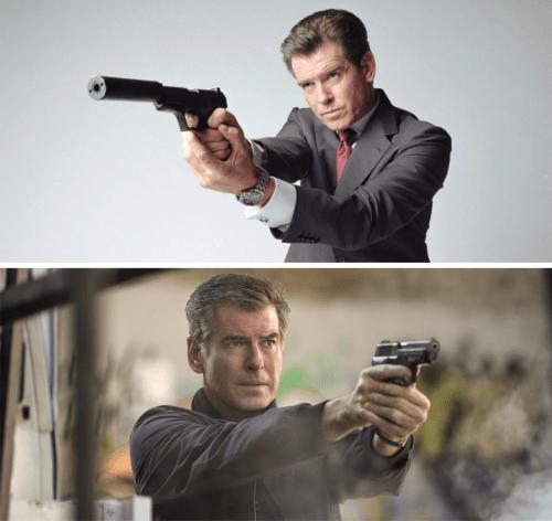 Evolución del empuñe de Pierce Brosnan. De taza y platillo en James Bond a pulgares paralelos en La Conspiración de Noviembre.