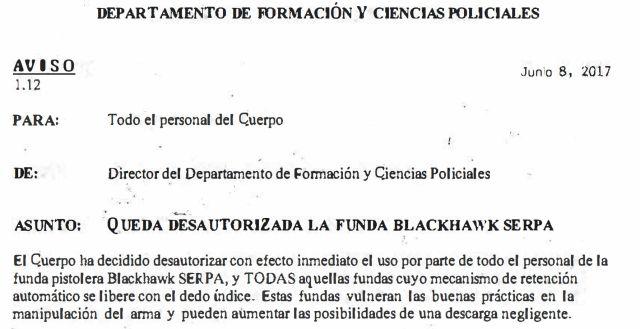 Queda desautorizada la funda Blackhawk SERPA en la Policía de Los Ángeles - 08JUN17