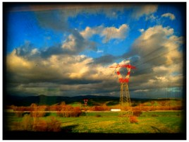 On the train: country-view between Rome and Florence