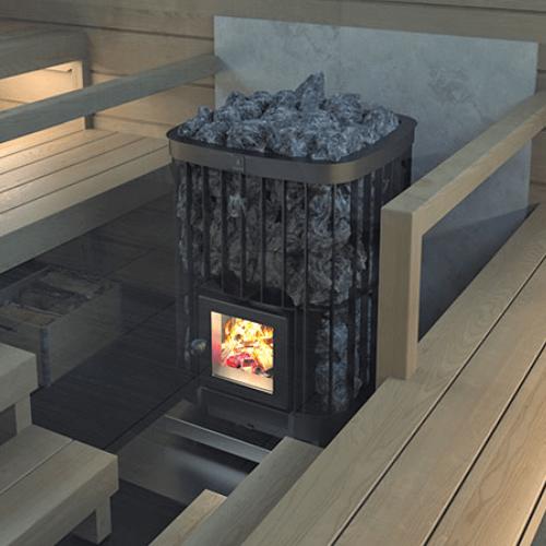 Дровяная печь для бани сауны Kastor Saga с топкой внутри парилки