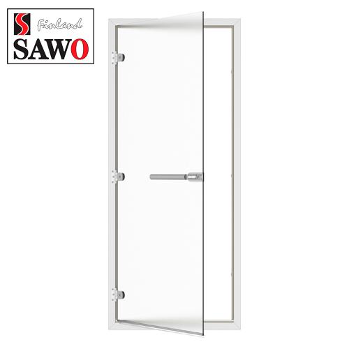 Дверь для турецкой бани хамама SAWO ST-746-L 8/19 стекло сатин,коробка алюминий,левая