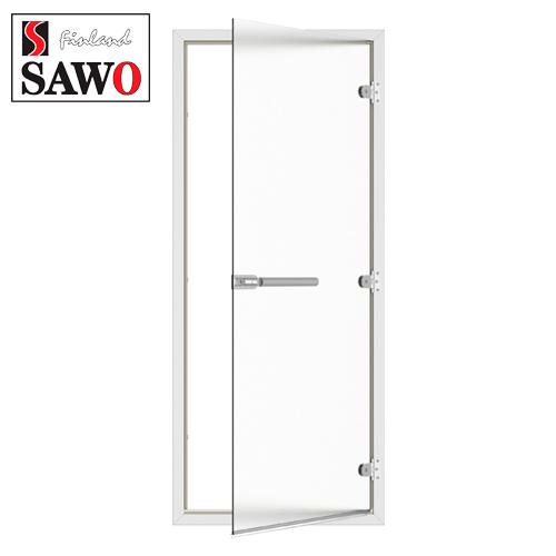 Дверь для турецкой бани хамама SAWO ST-746-R 8/19 стекло сатин,коробка алюминий,правая