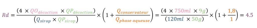 Comment calculer le facteur de réduction d'un sirop