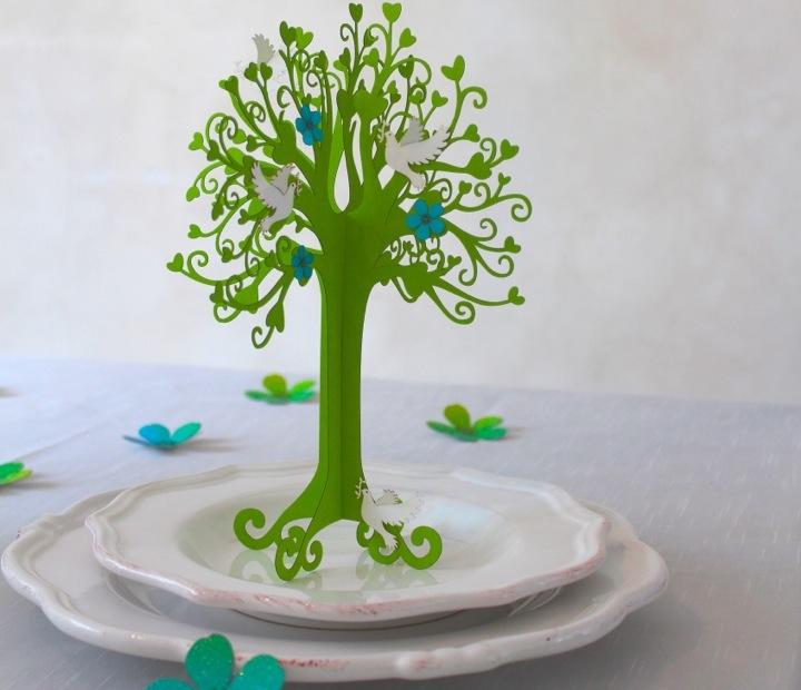 Tischdeko Taufe Herzbaum mit Taube in maigrn  Tischdeko