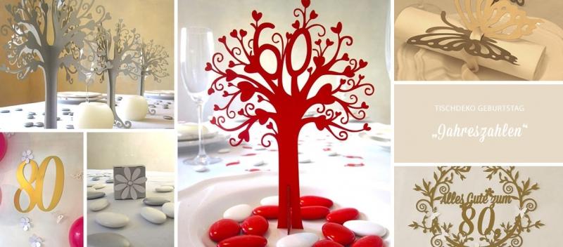 Tischdeko Geburtstag Jahreszahlen  tischdekogeschenke