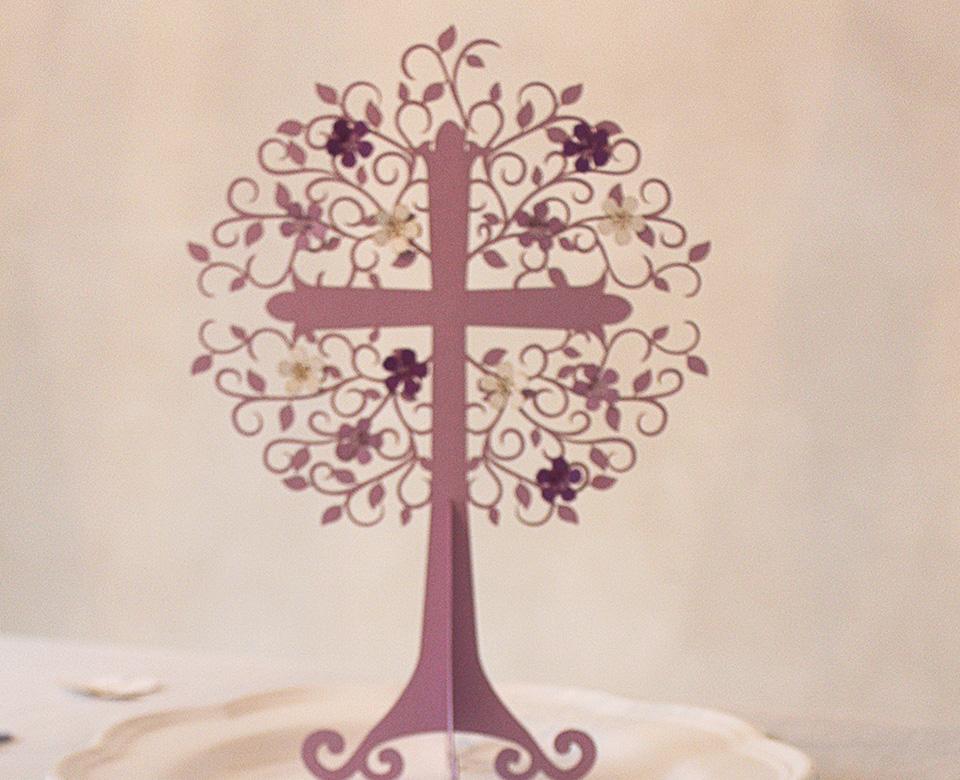 Tischdeko Lebensbaum flieder  Tischdeko Kommunion