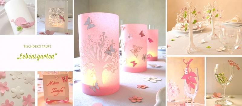 Tischdeko Taufe rosa