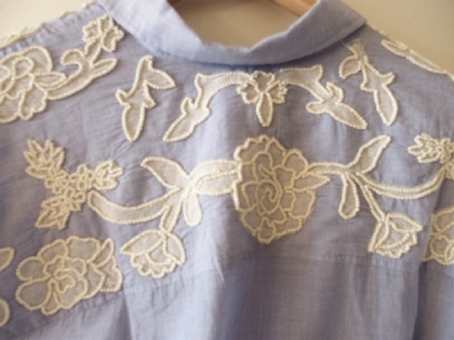 Embroidery on chambray shirt