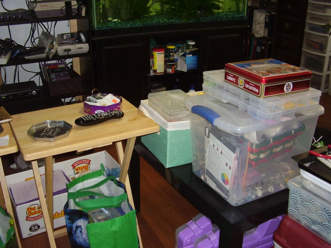 Pop Up Studio Beads in containers and supplies for Jewellery Making in my Living Room/Office/Jewelelry Design Studio