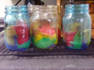 Rainbow Cake in Mason Jars