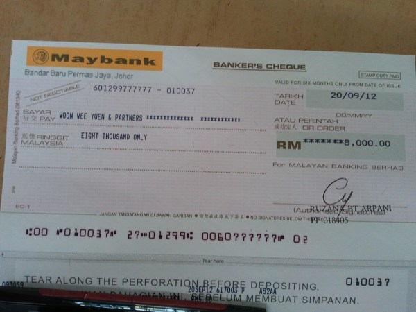 Maybank Bank Draft