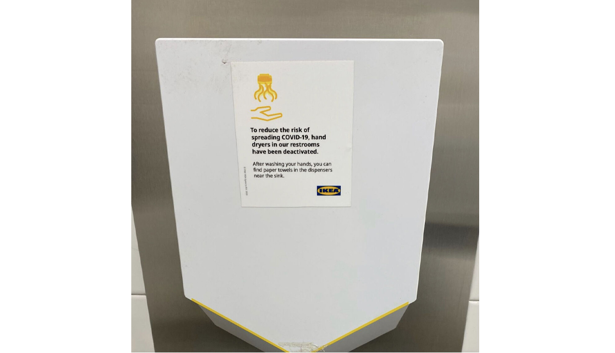 , IKEA replaces hand dryers with paper towels in its restrooms