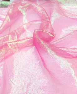 ORGANZA IRIDESCENT CRUSHED PINK FLUO