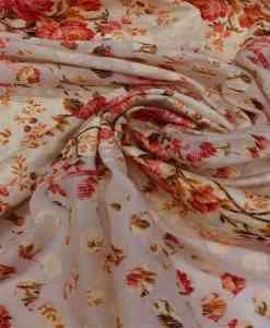 Broderie anglaise imprimé fleuris fond blanc cassé rouge