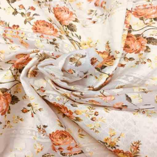 Broderie anglaise imprimé fleuris fond jaune pâle rouge